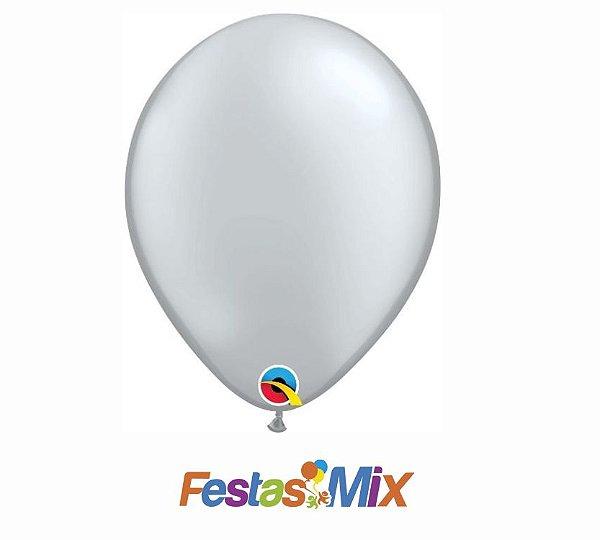Balão Látex 11 Polegadas - Prata - 05 unidades