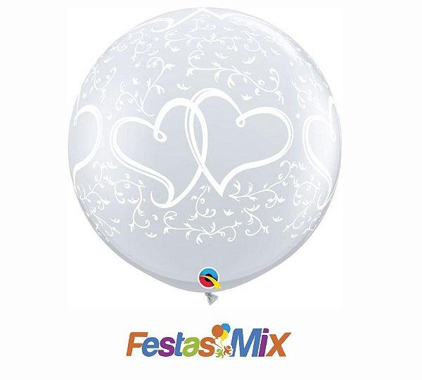 Balão Látex 3 Polegadas - Corações Entrelaçados - 01 unidade