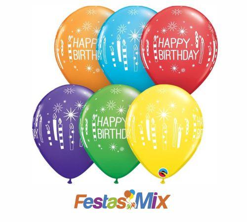 "Balão Látex 11"" - Sortido Happy Birthday - 05 unidades"