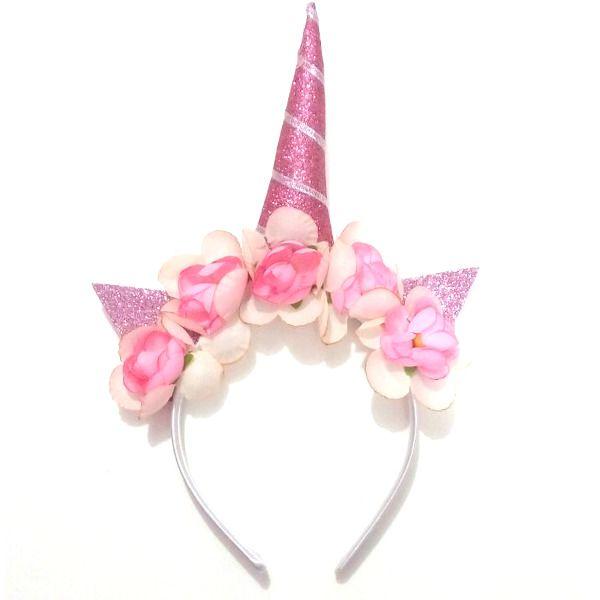 Tiara Unicórnio com Flores - Rosa