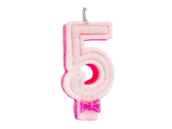 Vela de Aniversário Glitter - Rosa - Nº 5