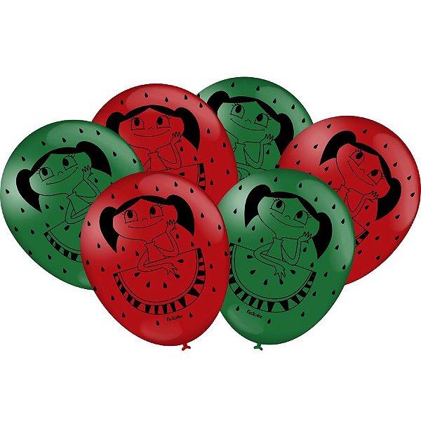 Balão Látex 9 Polegadas - O Show da Luna Melancia - 25 und
