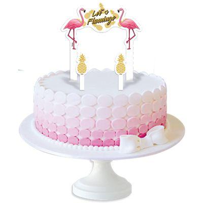 Topo De Bolo Flamingo 03 Unidades Festas Mix Nossa Alegria é