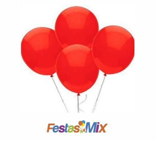 Balão Látex 9 Polegadas - Vermelho - 50 unidades