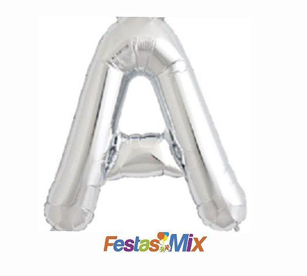 Balão Metalizado 40 cm - Prata - Letra A