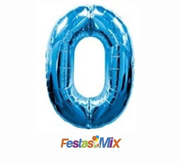 Balão Metalizado 40cm - Azul - Número 0