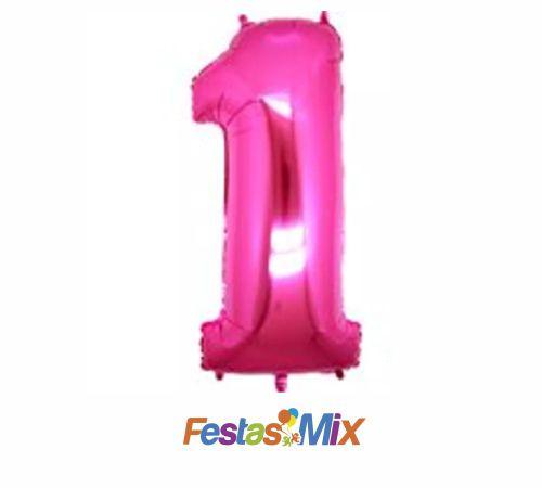 Balão Metalizado 40cm - Rosa - Número 1