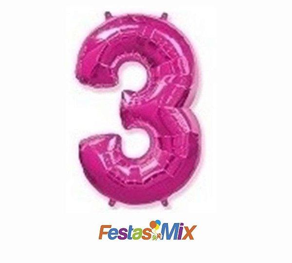 Balão Metalizado 40cm - Rosa - Número 3