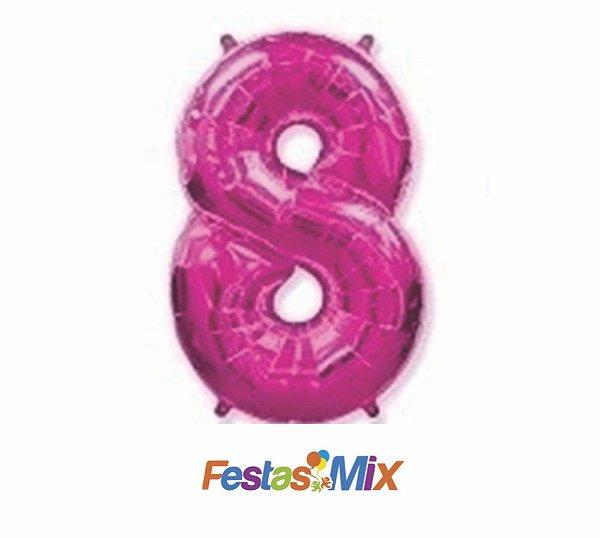 Balão Metalizado 40cm - Rosa - Número 8