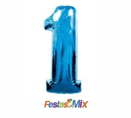 Balão Metalizado 40cm - Azul - Número 1