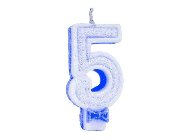 Vela de Aniversário Glitter - Azul - Nº 5