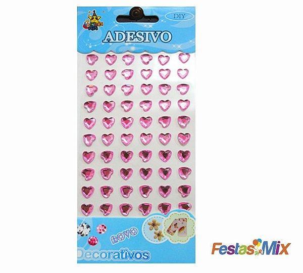 Cartela Adesivos  - Coração Rosa