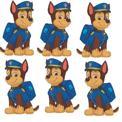 Micro Personagem EVA - Patrulha Canina - Chase - 6 unidades