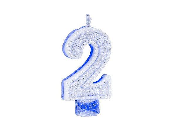 Vela de Aniversário Glitter - Azul - Nº 2