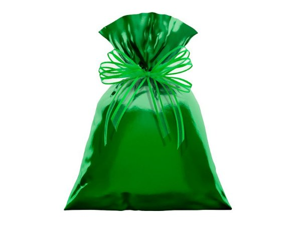 Saco Metalizado para Presente - Verde - 50 unidades