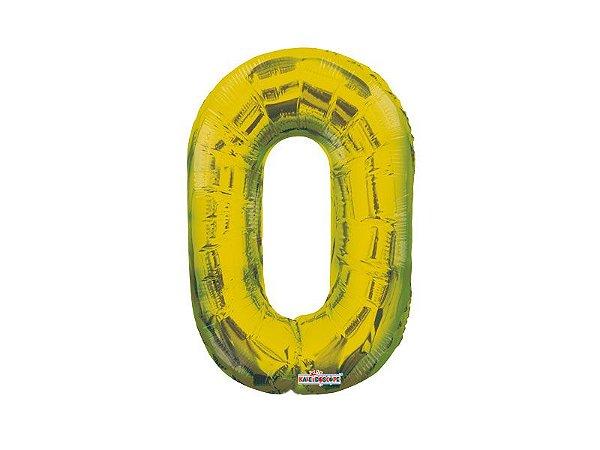 Balão Metalizado 35cm Número - Dourado -  0