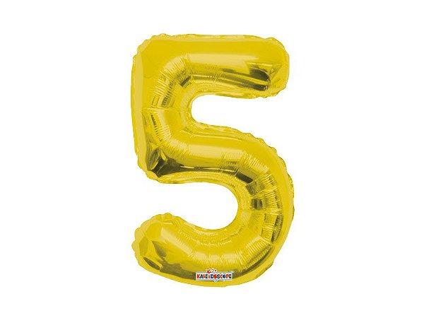 Balão Metalizado 35cm Número - Dourado -  5