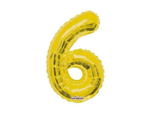 Balão Metalizado 35cm Número - Dourado -  6
