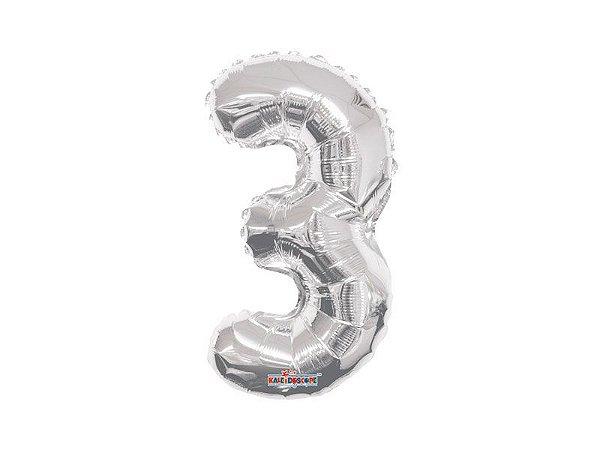 Balão Metalizado 35cm Número - Prata - 3