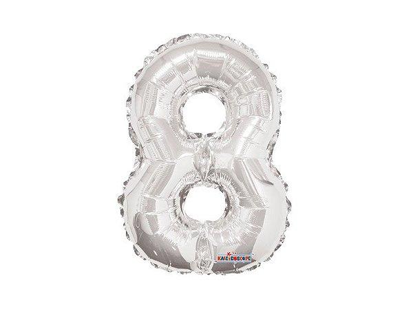 Balão Metalizado 35cm Número - Prata - 8