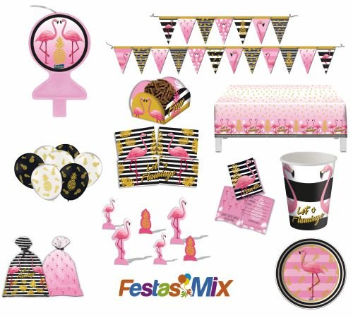 Kit Festa Flamingo - 24 Pessoas