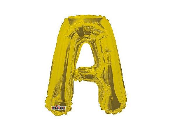 balão metalizada 35 cm - Dourada-  Letra A