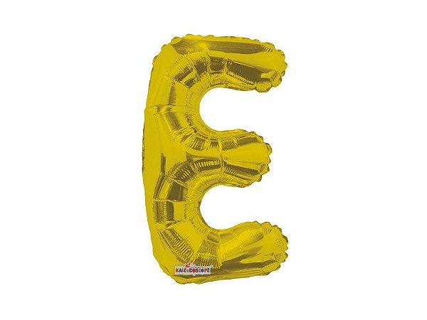 Balão Metalizada 22 cm - Dourada - Letra E