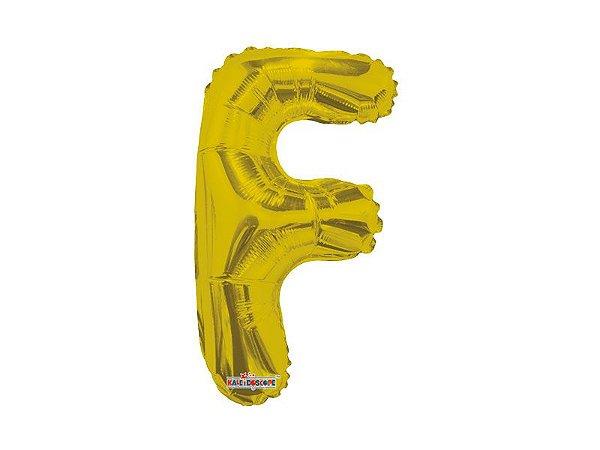Balão metalizado 22 cm - Dourado -  Letra F