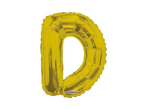 Balão Metalizado  22 cm  - Dourado - Letra D