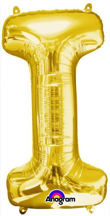 Balão Metalizado 45 cm - Dourado - Letra I