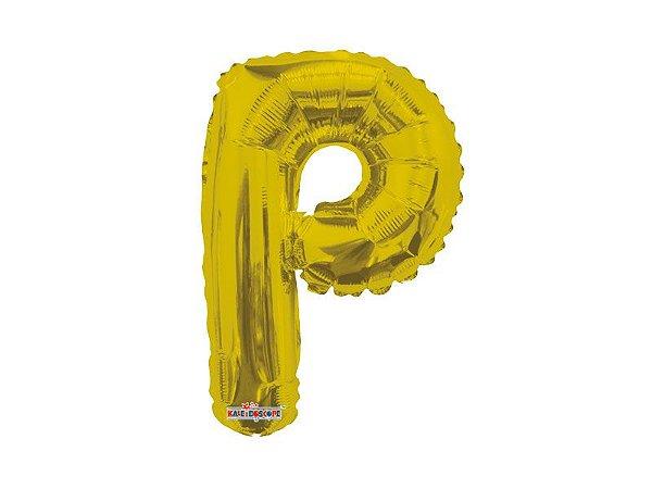 Balão Metalizado  22 cm - Dourado - Letra P