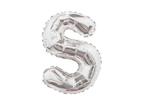 Balão Metalizado 20 cm - Prateado - Letra S