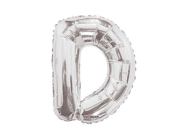 Balão Metalizado 22 cm - Prateado- Letra D