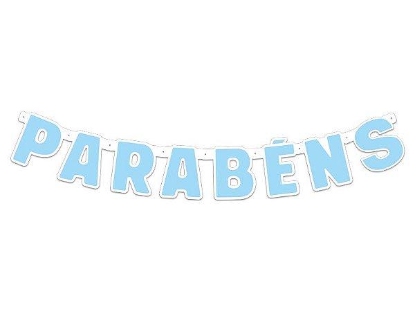Faixa Parabéns - Festa Colors - Azul  bebê