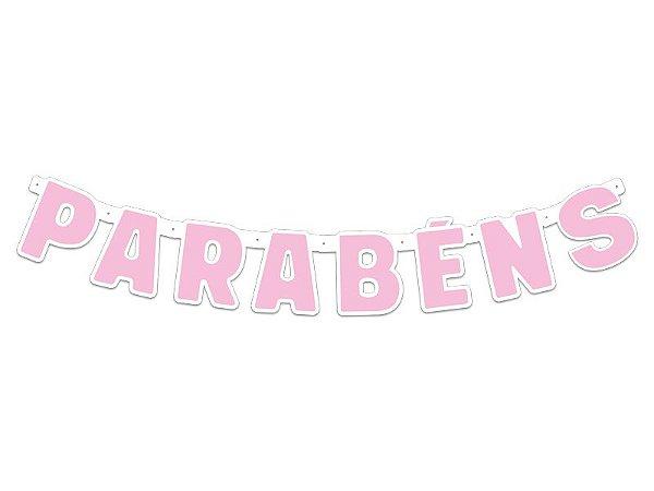 Faixa Parabéns- Festa Colors - Rosa Bebê