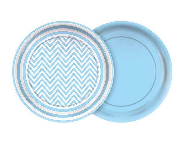 Prato de Papel- Festa Colors - Chevron Azul bebê - 08 unidades