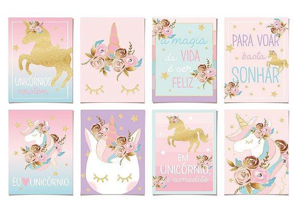 Cartaz Decorativo - Unicórnio - 08 unidades