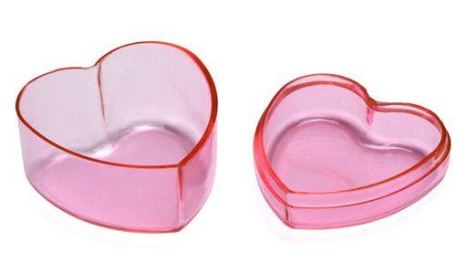 Caixa de acrílico - Coração - Pink - 10 unidades