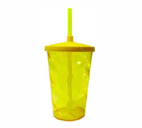 Copo Twister 400 ml - Amarelo - Com tampa e canudo