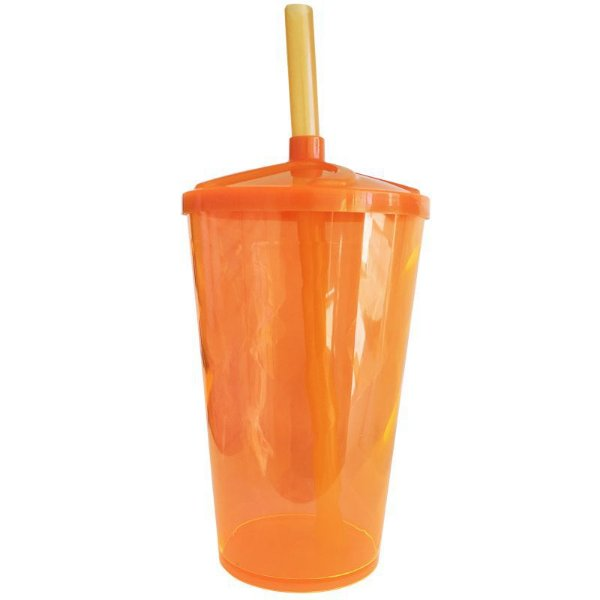 Copo Twister 400 ml - Laranja - Com tampa e canudo