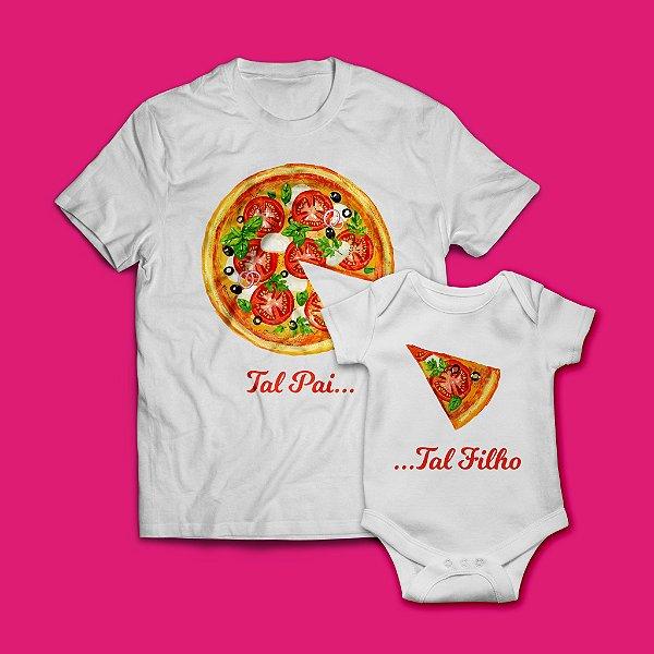 """Kit Camisa + Body  """"Papa Baby Pizza"""""""