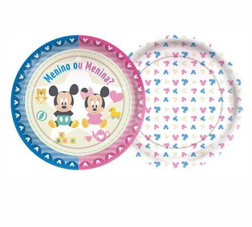 Prato Redondo Baby Disney Chá Revelação - 08 Unidades