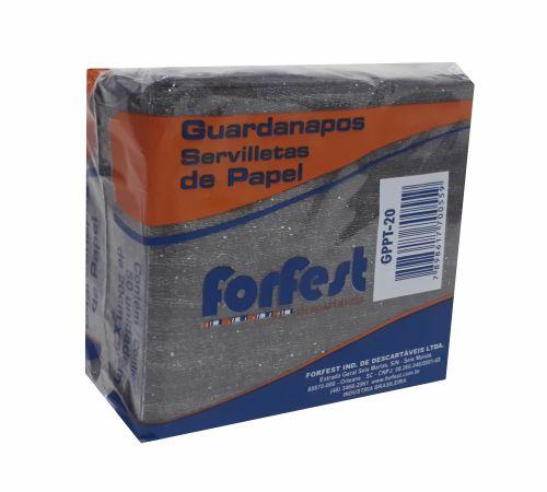 Guardanapo Forfest - 20 x 22 cm - Preto - 50 unidades