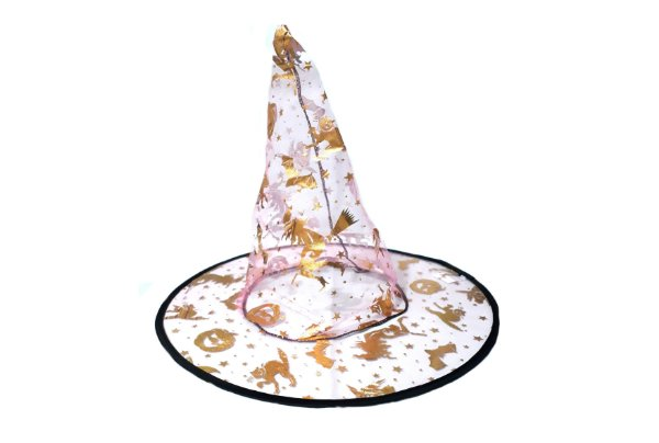 Chapéu de Bruxa Organza - Rosa Claro
