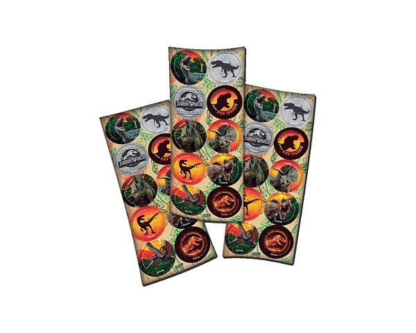 Adesivo Redondo  - Jurassic World 2 - 03 cartelas