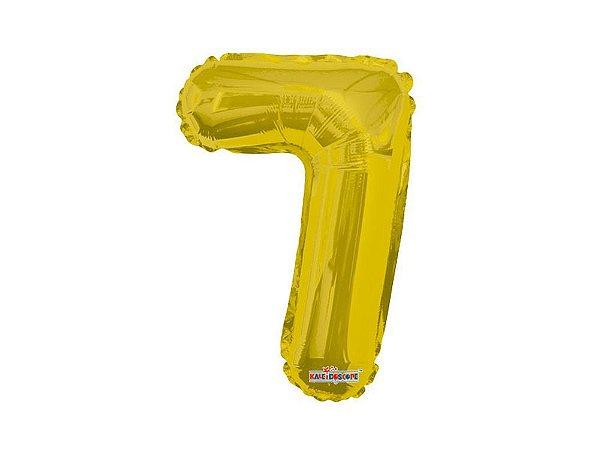 Balão Metalizado 35cm Número - Dourado -  7