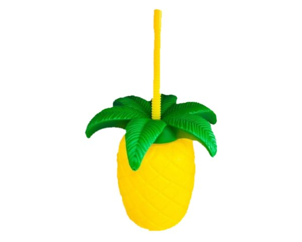 Copo Abacaxi com Canudo Plástico 3D