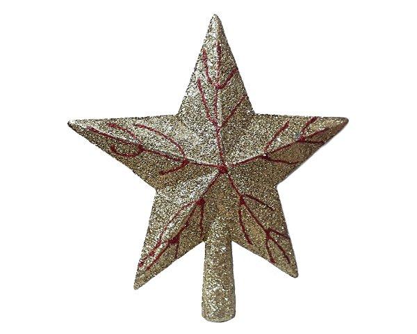 Estrela de Natal Ponteira - Dourado e Vermelho