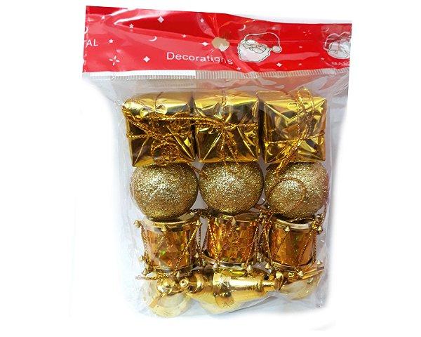 Enfeite de natal - 12 Peças - Dourado