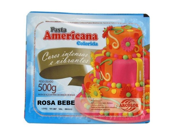 Pasta Americana Colorida - Rosa Bebê 500g